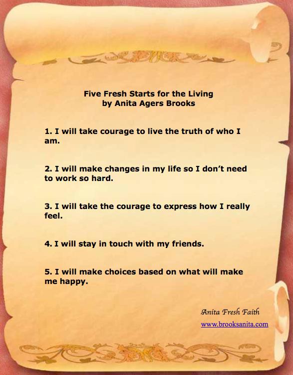 Anita Brooks' Five Fresh Starts for the Living