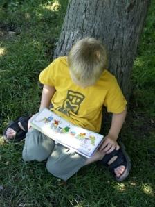 boy reading story