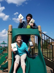 Nancy Downing and Mary Larmoyeux hold book The Grandparent Connection